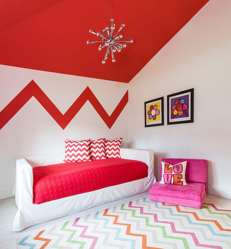 Принт шеврон. Броская красная палитра, разбавленная более светлыми оттенками от B.Design