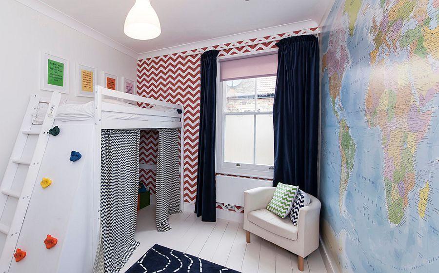 Принт шеврон. Контрастный декор с большим количеством цветных акцентов от aegis interior design