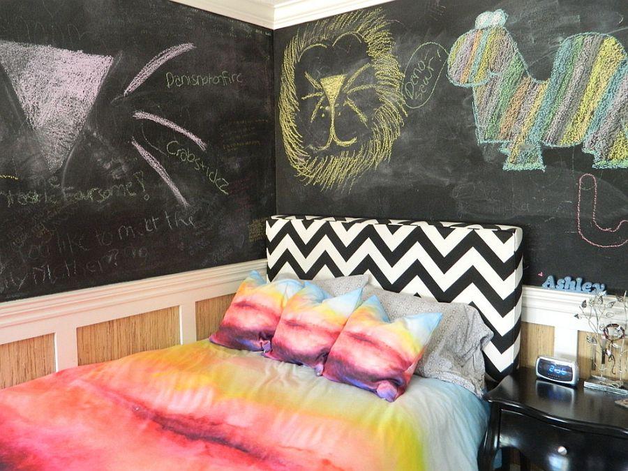 Принт шеврон. Атмосфера художественной мастерской с разноцветными мазками от Susan Thiel Design