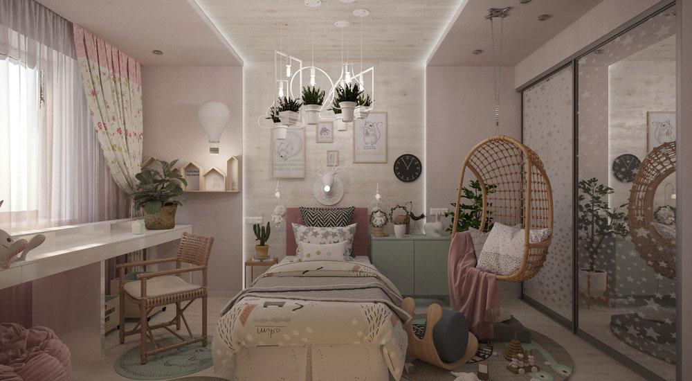 Роскошный дизайн детской спальни в светлых тонах 7