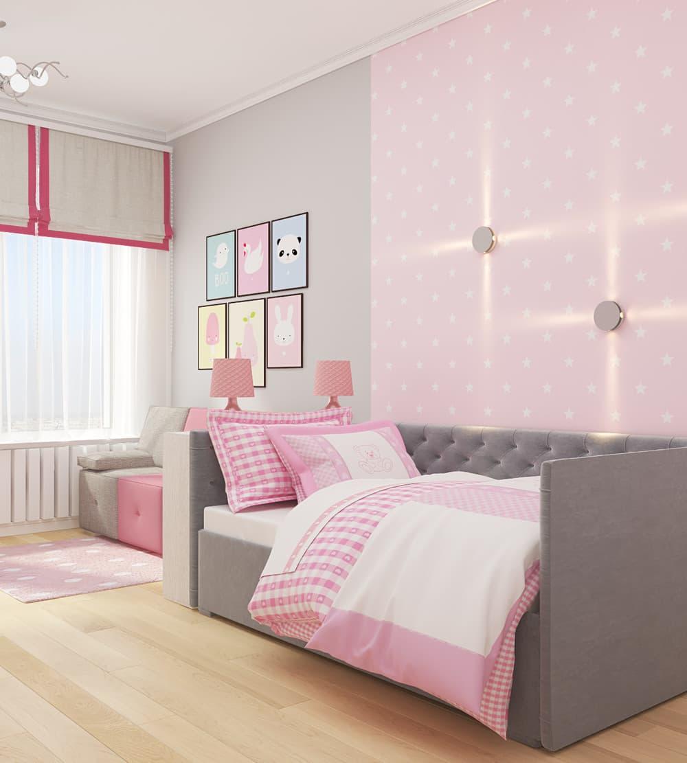 Современные идеи детской комнаты для девочки в розовых тонах 2