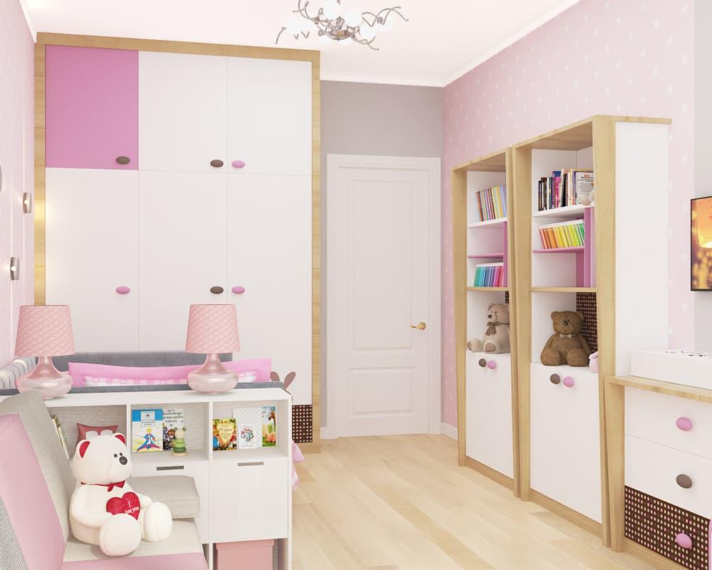 Современные идеи детской комнаты для девочки в розовых тонах 3