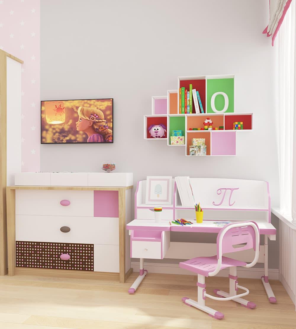 Современные идеи детской комнаты для девочки в розовых тонах 5