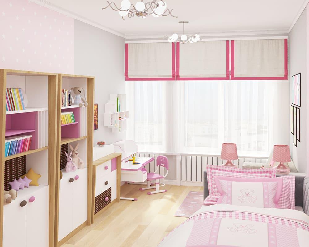 Современные идеи детской комнаты для девочки в розовых тонах 7