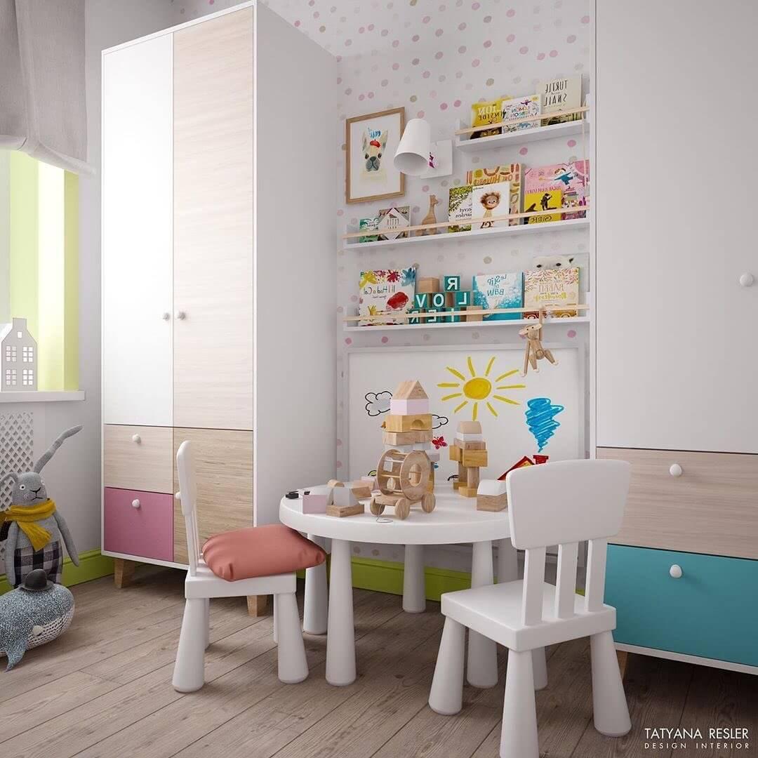 Стильный дизайн детской комнаты для 2 детей 4