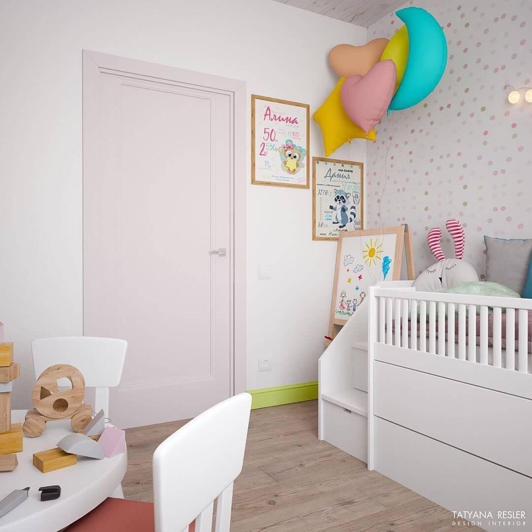 Стильный дизайн детской комнаты для 2 детей 7