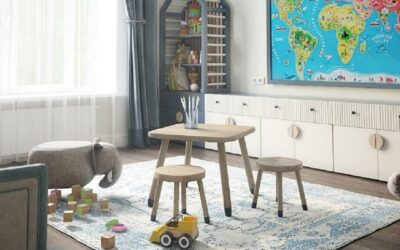 Стильный дизайн детской комнаты для мальчика — оригинальное решение в бело-голубом исполнении