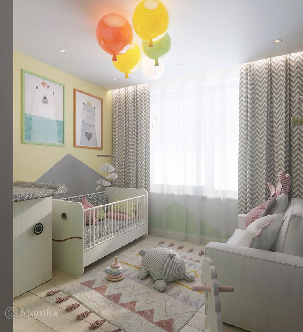 Интерьер детской комнаты в пастельных тонах 1