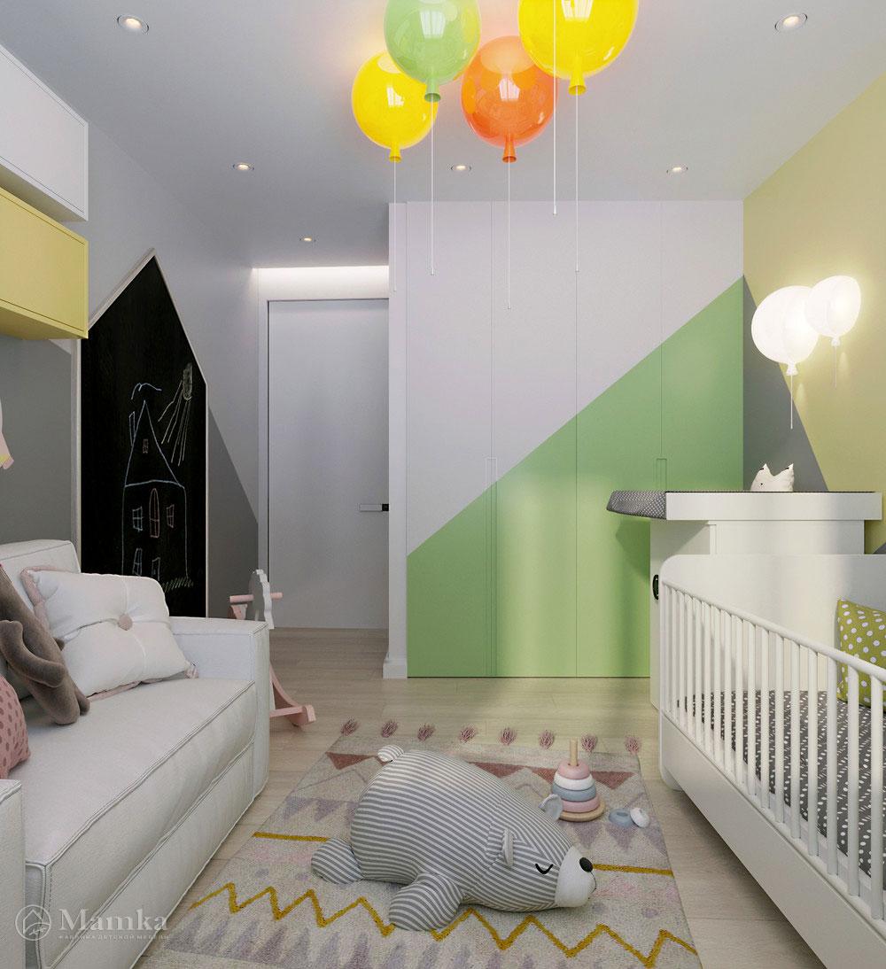 Интерьер детской комнаты в пастельных тонах 2