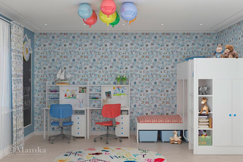 Стильный дизайн детской для разнополых детей 2