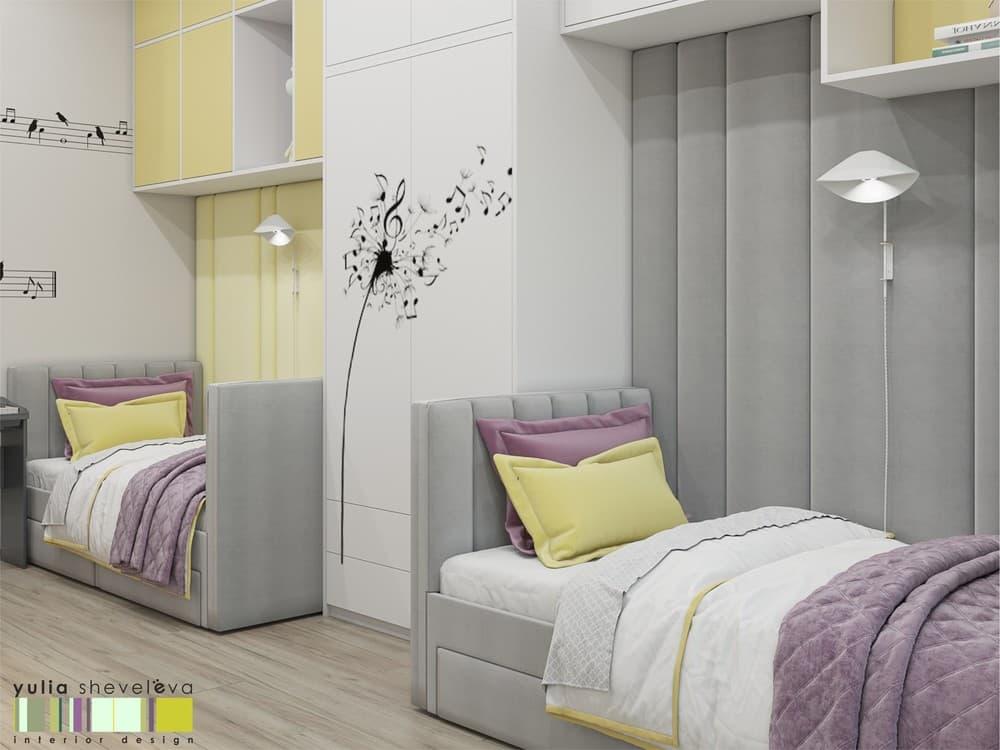 Стильный и комфортный дизайн детской комнаты для двух девочек 1