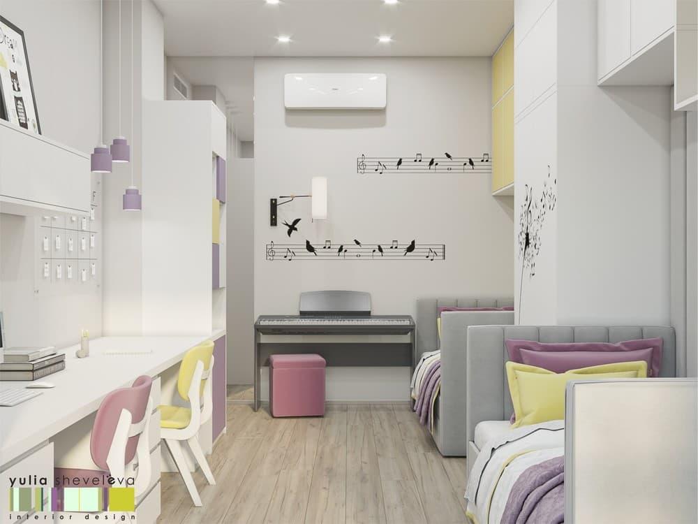 Стильный и комфортный дизайн детской комнаты для двух девочек 2