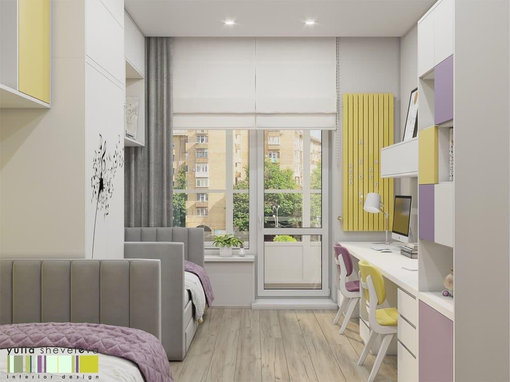 Стильный и комфортный дизайн детской комнаты для двух девочек 3