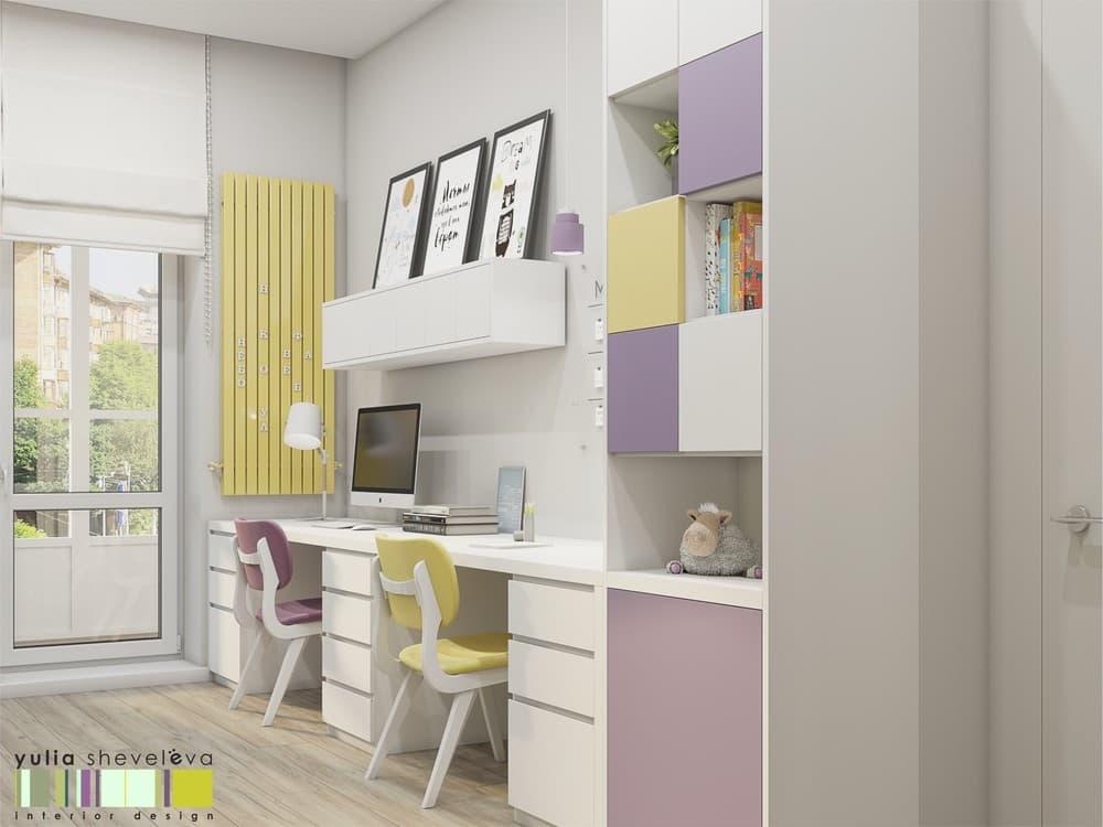 Стильный и комфортный дизайн детской комнаты для двух девочек 4