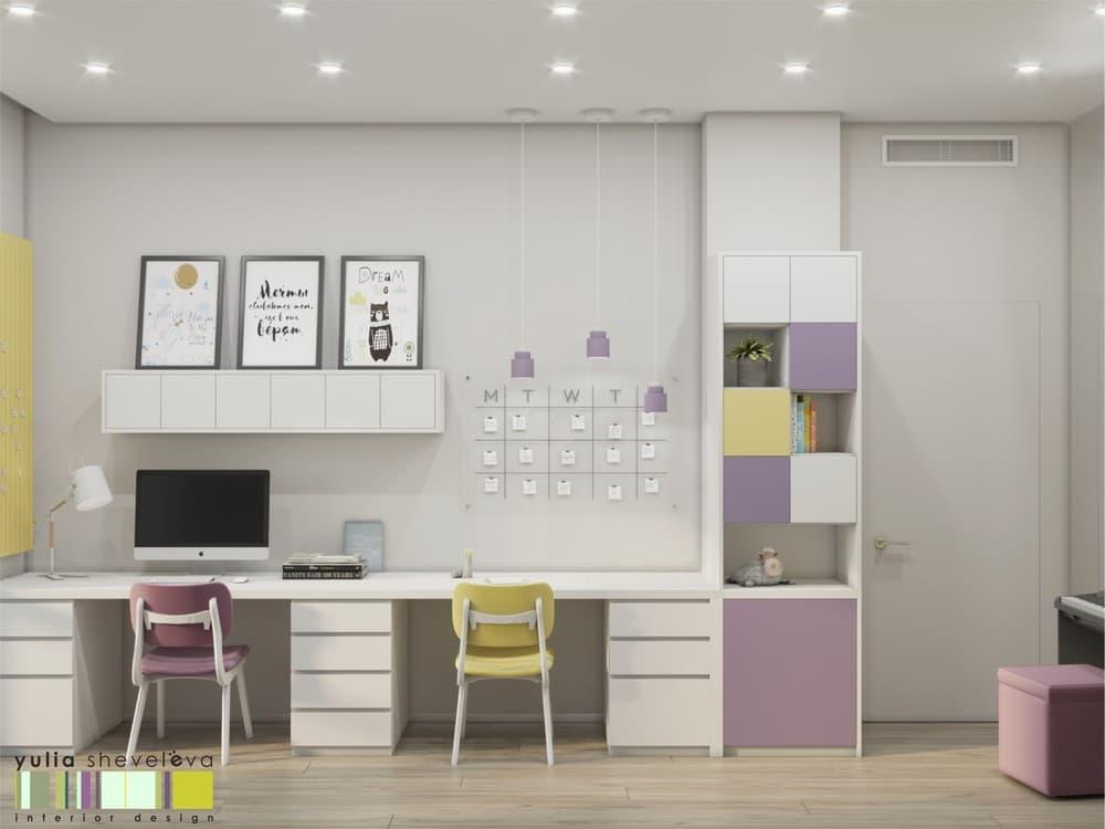 Стильный и комфортный дизайн детской комнаты для двух девочек 5