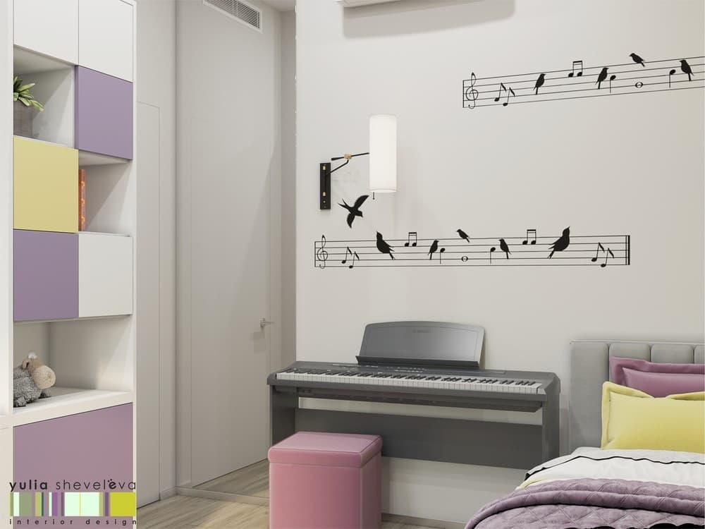 Стильный и комфортный дизайн детской комнаты для двух девочек 7