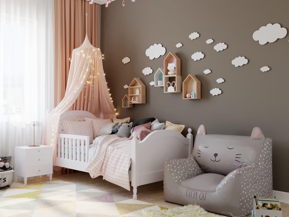 Детская комната для девочки в светло-коричневой гамме 1