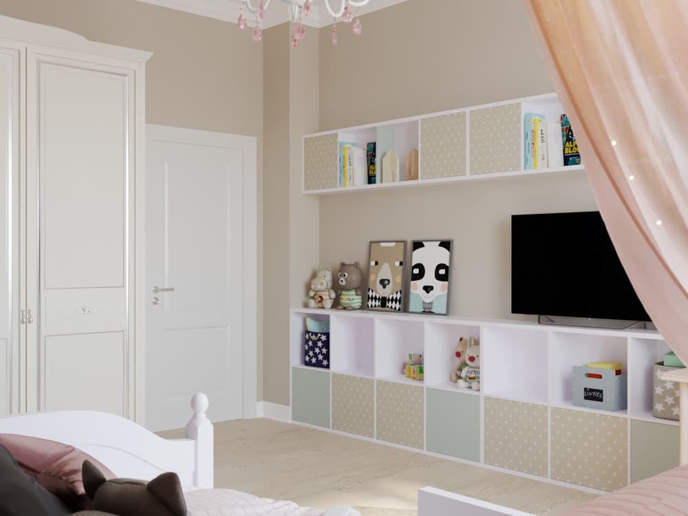 Детская комната для девочки в светло-коричневой гамме 3