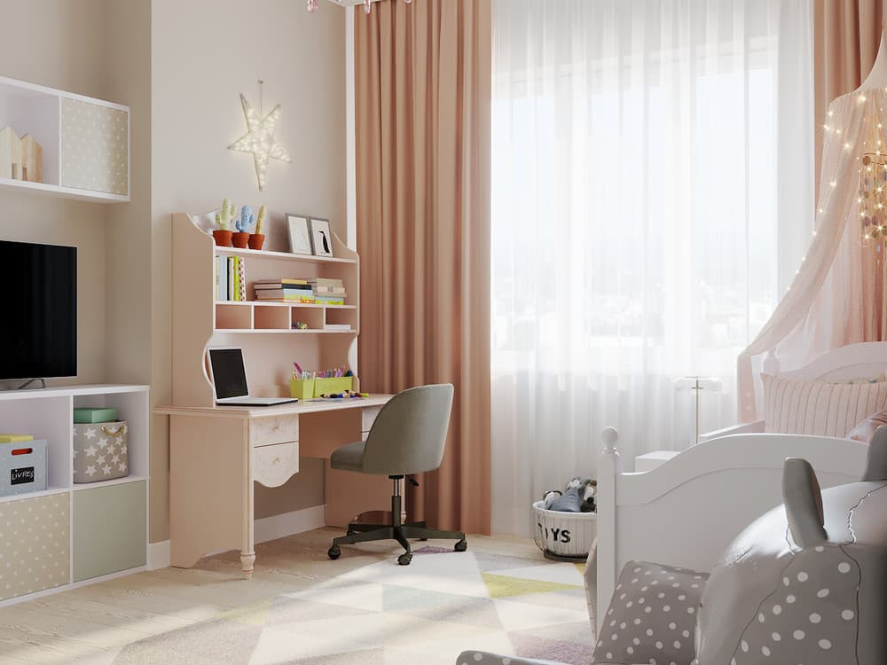 Детская комната для девочки в светло-коричневой гамме 4