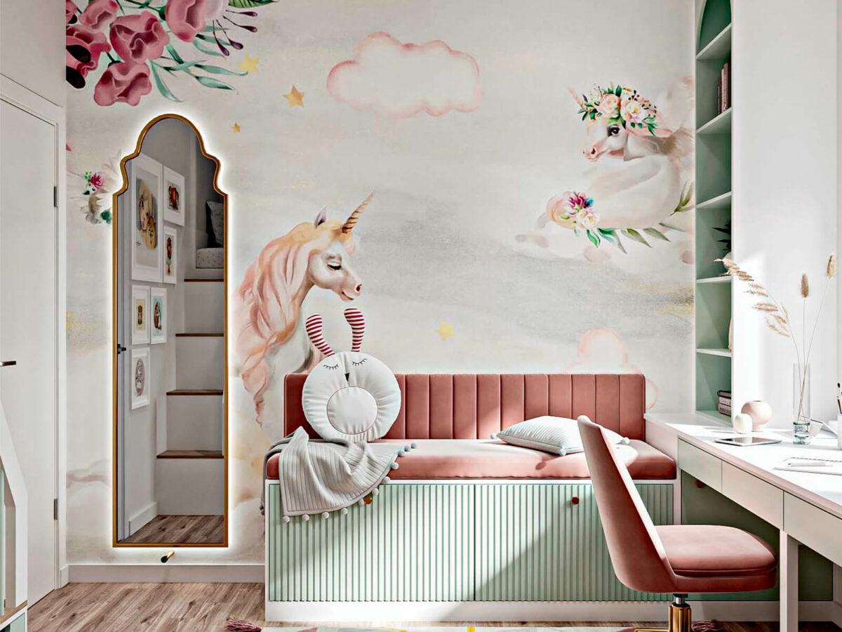 Светлая мебель в спальню девочки проект 5535-1