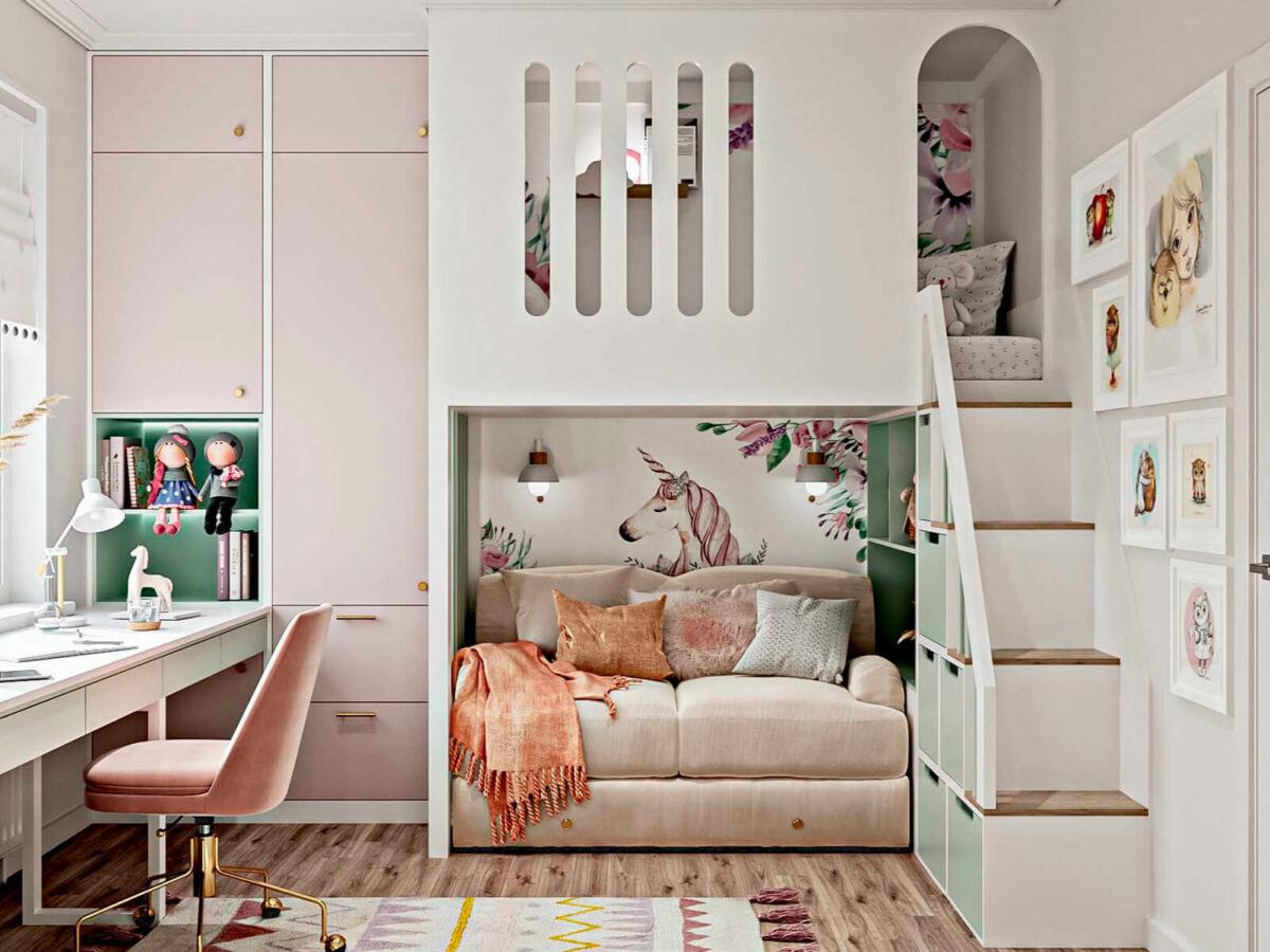 Светлая мебель в спальню девочки проект 5535-2