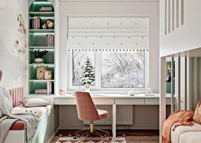 Мебель в светлых тонах в детскую спальню девочки — проект 5535