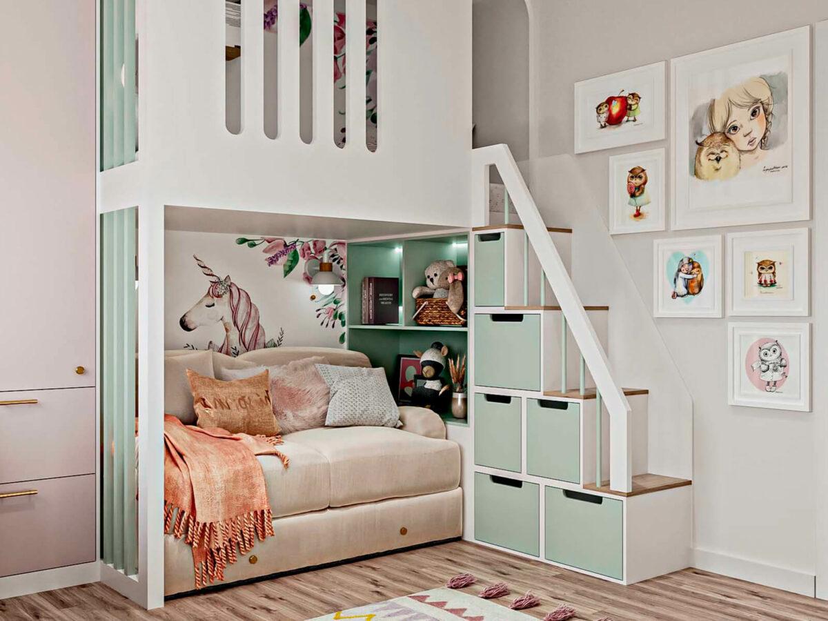 Светлая мебель в спальню девочки проект 5535-4