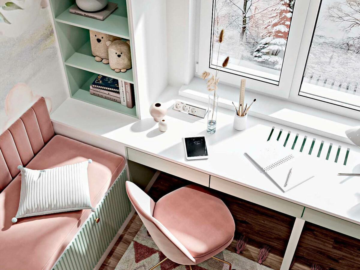 Светлая мебель в спальню девочки проект 5535-5