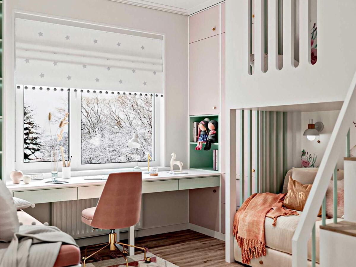 Светлая мебель в спальню девочки проект 5535-6