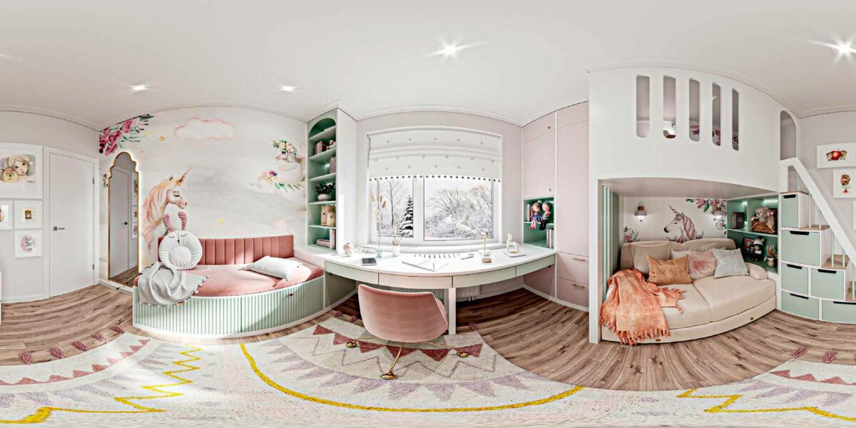 Светлая мебель в спальню девочки проект 5535-7