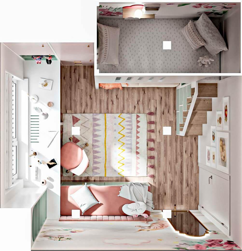 Светлая мебель в спальню девочки проект 5535-8