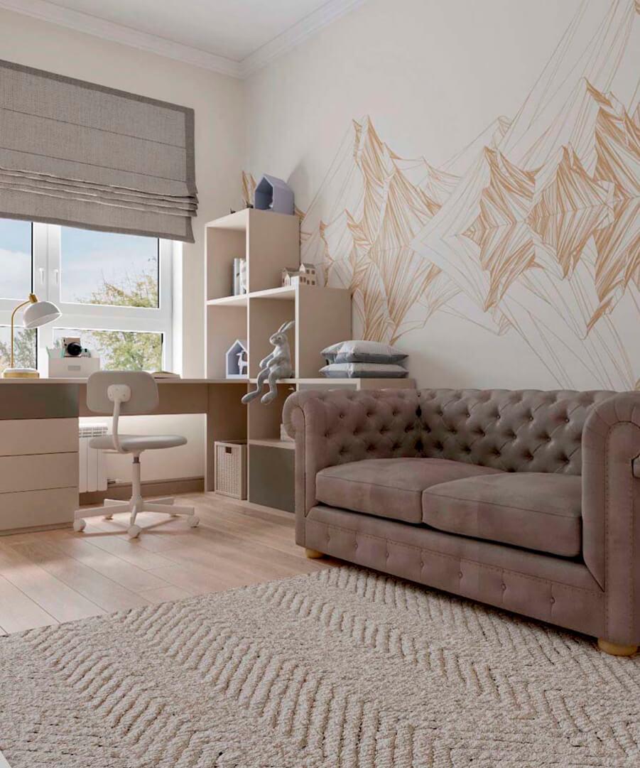 Светло-коричневая мебель детской комнаты мальчика проект 3865-1-1