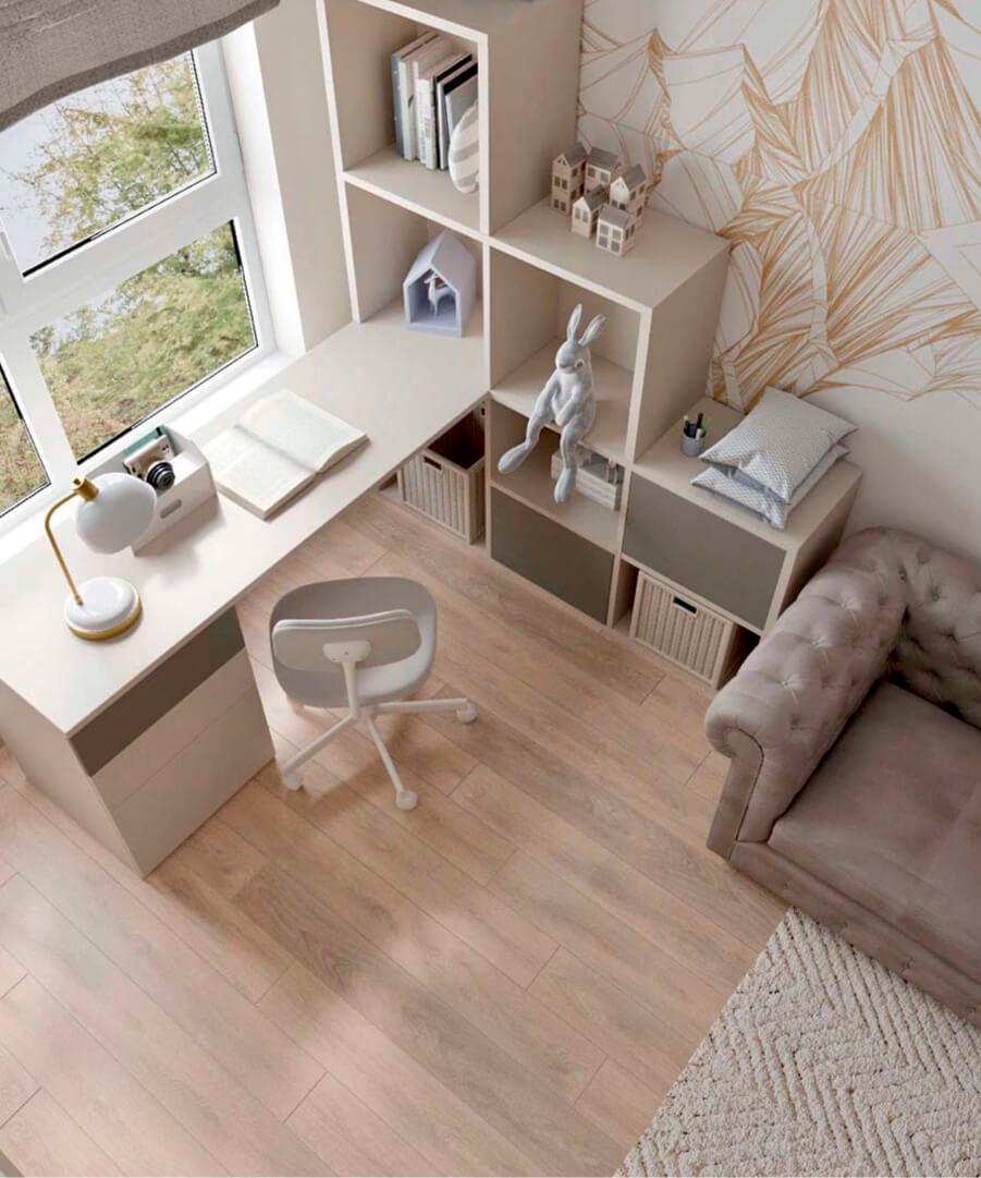 Светло-коричневая мебель детской комнаты мальчика проект 3865-1-2