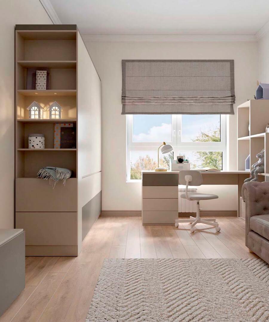 Светло-коричневая мебель детской комнаты мальчика проект 3865-1-3