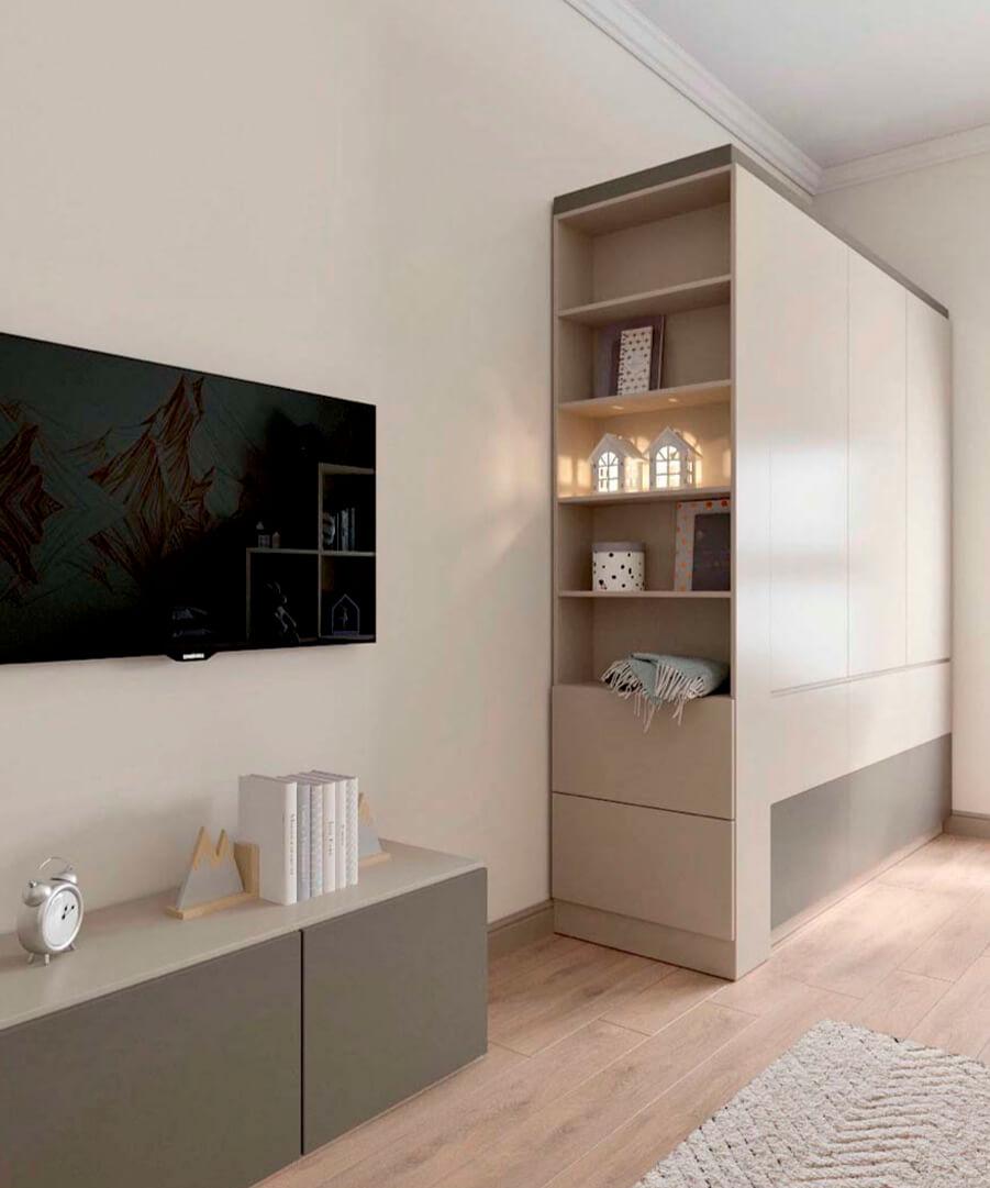 Светло-коричневая мебель детской комнаты мальчика проект 3865-1-4