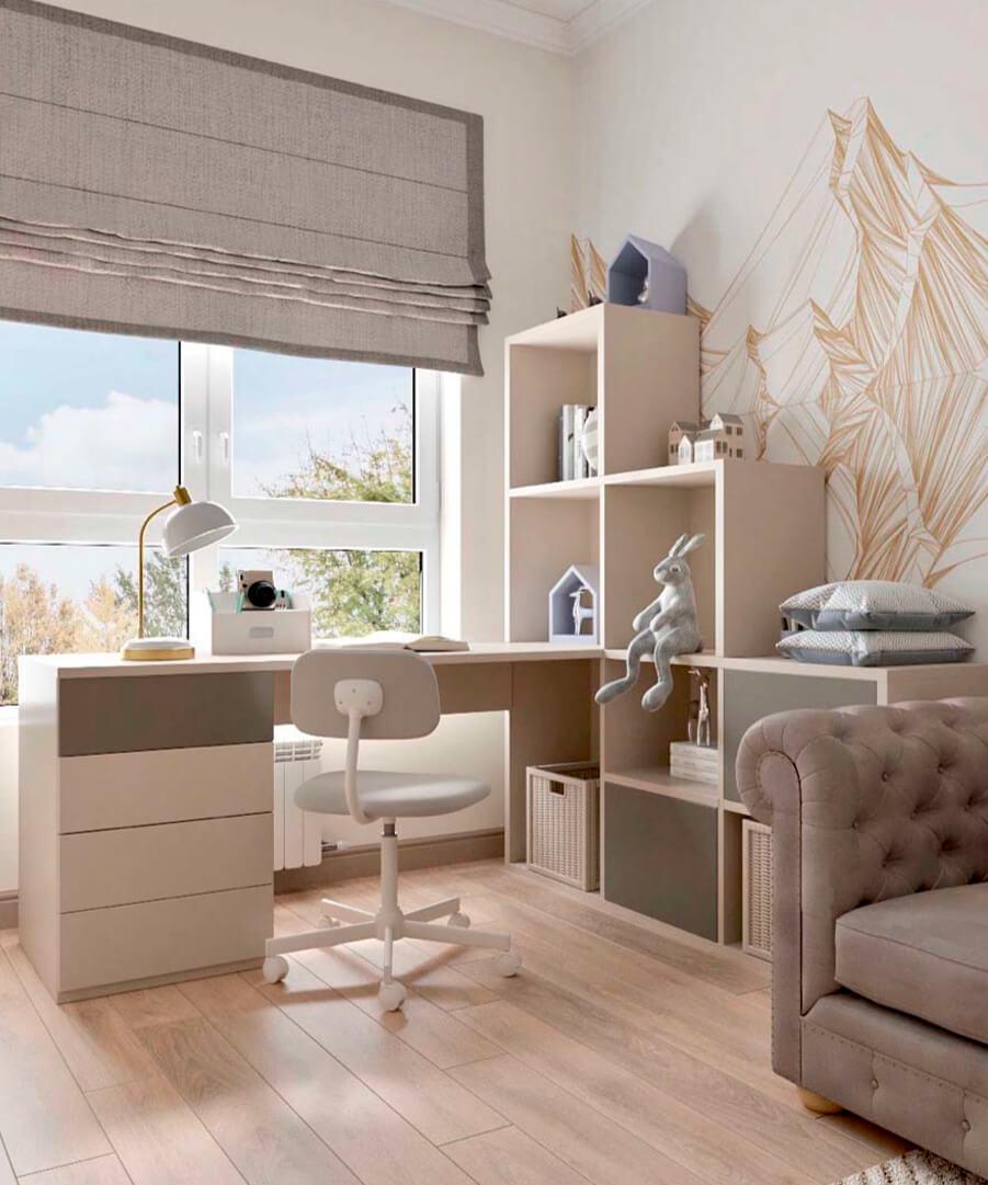 Светло-коричневая мебель детской комнаты мальчика проект 3865-1-6