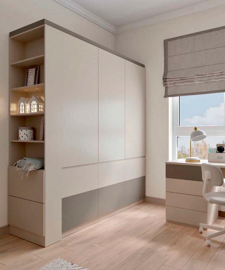 Светло-коричневая мебель детской комнаты мальчика проект 3865-1-7