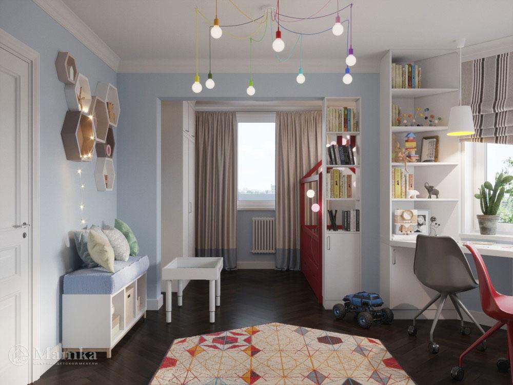 Светлый и легкий дизайн детской комнаты для двоих детей 3