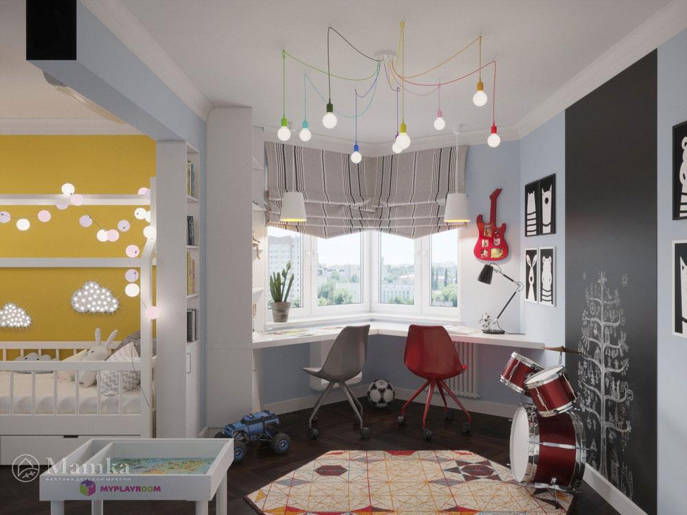Светлый и легкий дизайн детской комнаты для двоих детей 4