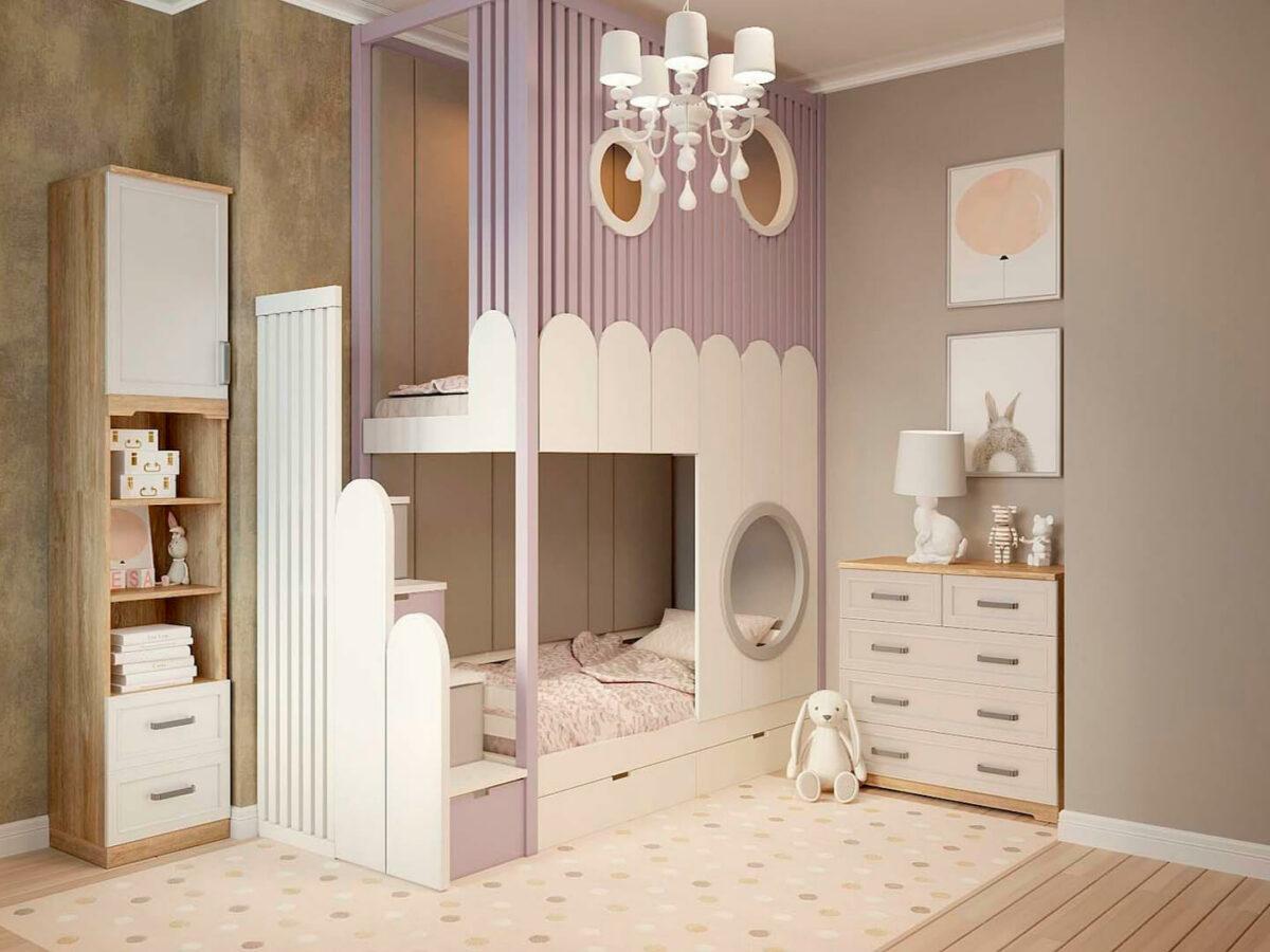 Удобная мебель в детскую спальню девочки проект 5619-1
