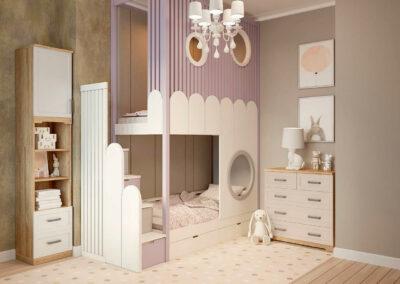 Удобная мебель в детскую спальню двух девочек — проект 5619