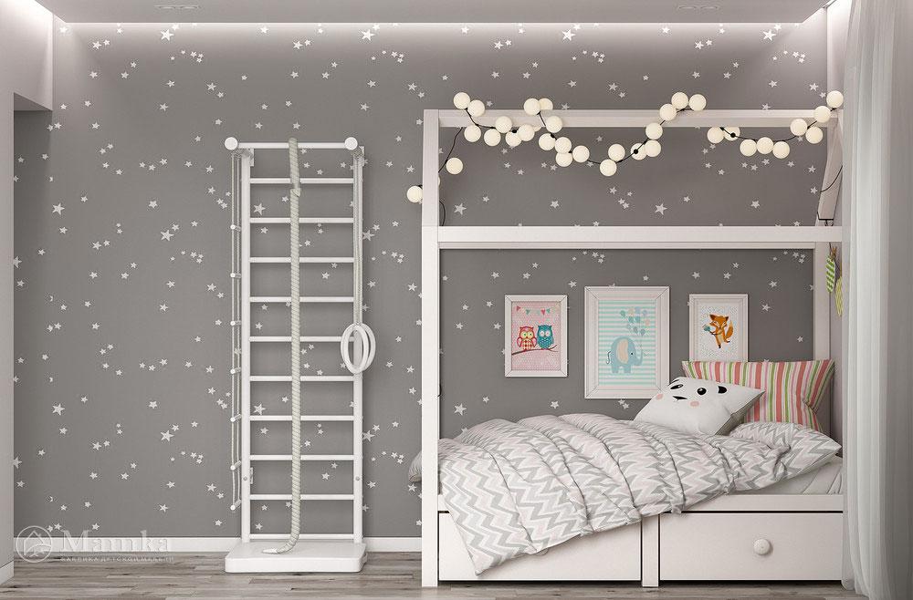Универсальный дизайн детской комнаты - минималистский unisex 2