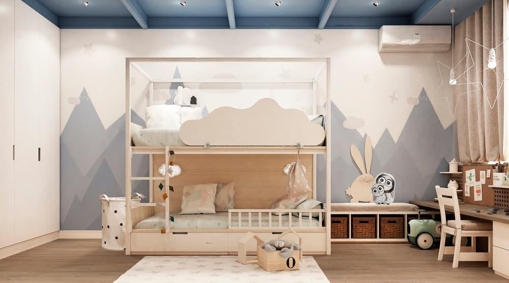 Уютный дизайн детской комнаты с двухъярусной кроватью 1