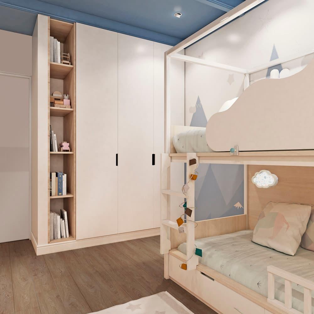 Уютный дизайн детской комнаты с двухъярусной кроватью 2