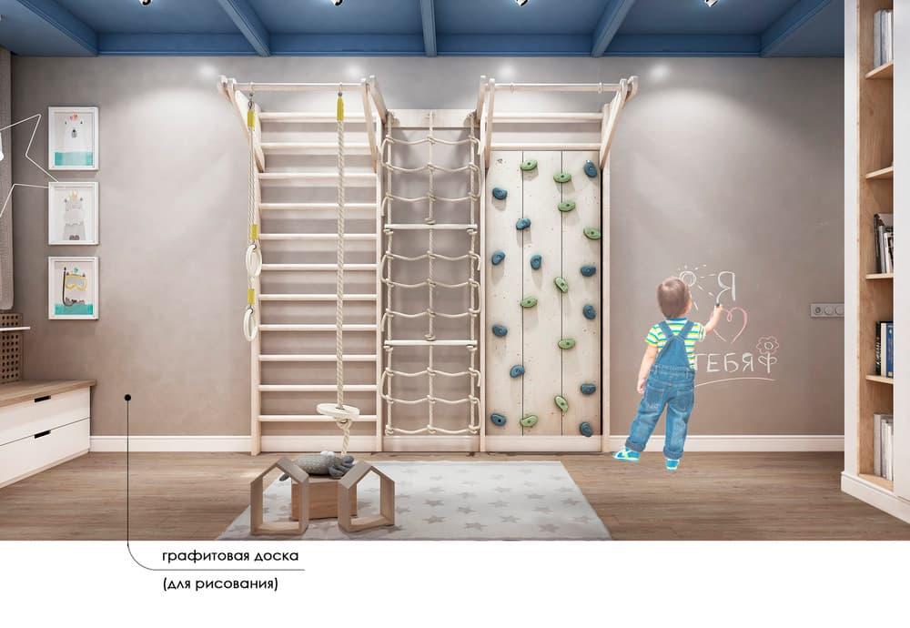 Уютный дизайн детской комнаты с двухъярусной кроватью 3