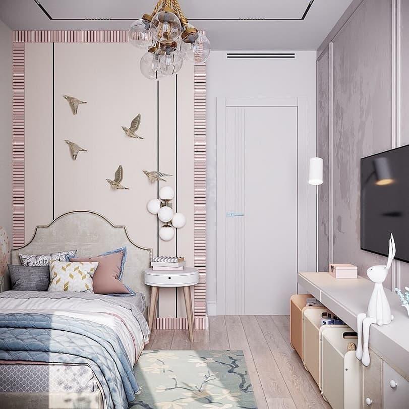 Вариант дизайнерского интерьера для девочки в розовом цвете 2