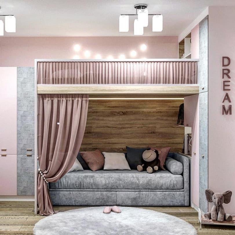 Вариант дизайнерского интерьера для девочки в розовом цвете 3
