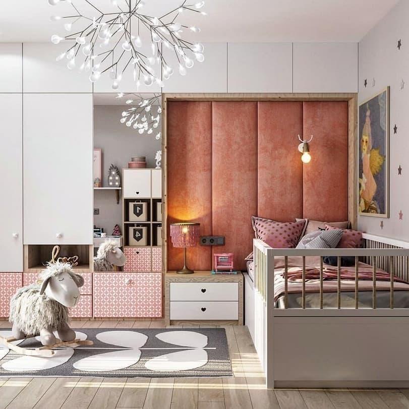 Вариант дизайнерского интерьера для девочки в розовом цвете 5