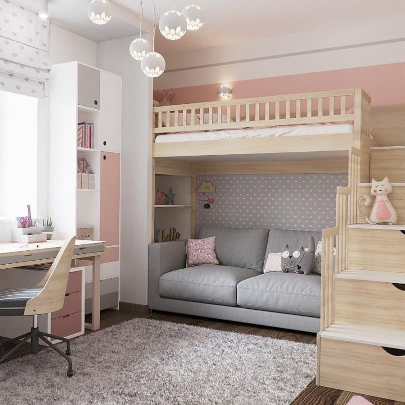 Вариант дизайнерского интерьера для девочки в розовом цвете 6