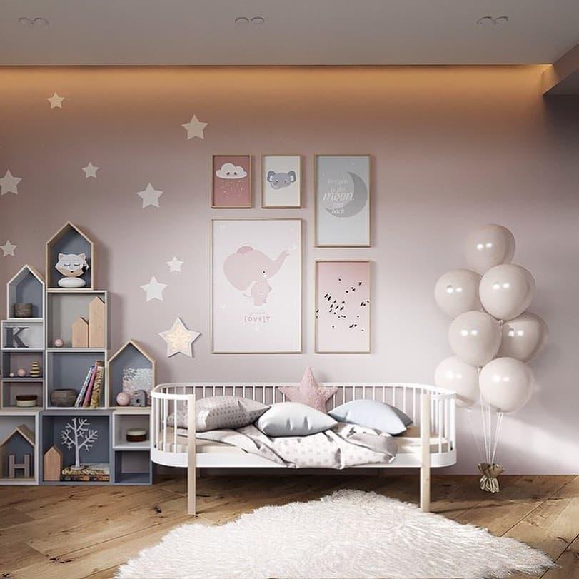 Вариант дизайнерского интерьера для девочки в розовом цвете 7